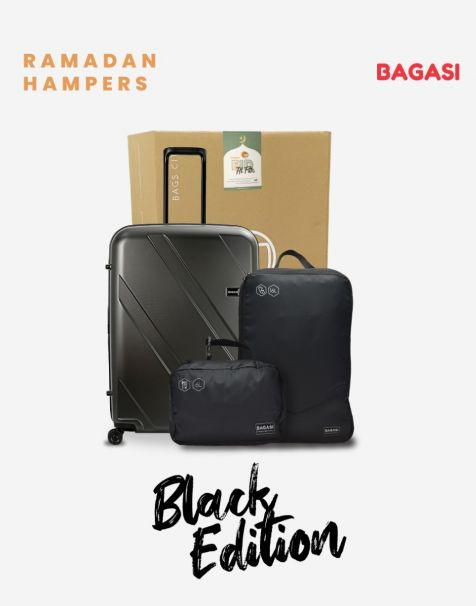Bagasi Natuna Small Black & Bagasi Accessories Travel Hampers (Luggage + Packing Cube)