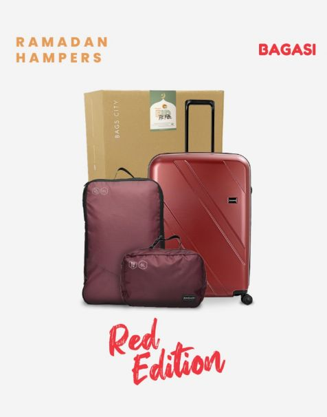 Bagasi Natuna Small Red & Bagasi Accessories Travel Hampers (Luggage + Packing Cube)