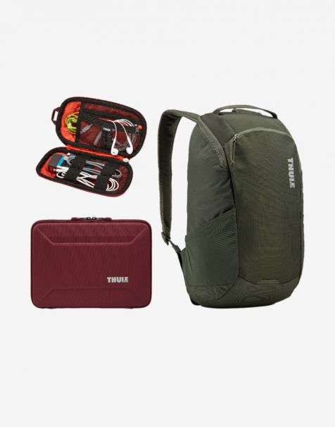 Thule Enroute 3 & Thule Accessories Travel Hampers (Laptop Backpack + Macbook Sleeve + Cable Pouch)