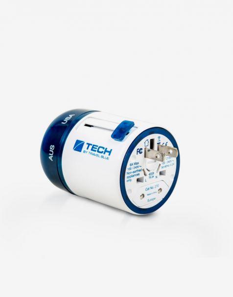 Travel Blue Twist & Slide Worldwide Travel Adaptor With Dual USB - White